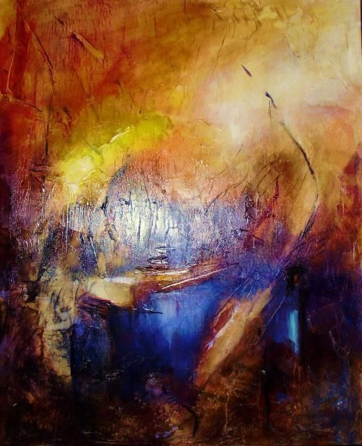 Partance - Painting,  39.4x31.9 in, ©2010 by Françoise Vandiedonck -