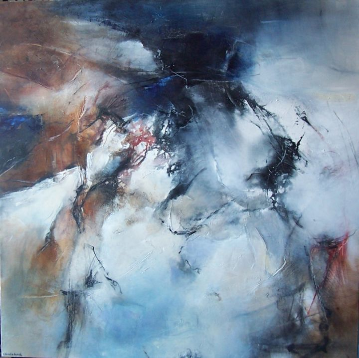 chemin faisant - Painting,  90x90 cm ©2014 by Françoise Vandiedonck -                                                            Abstract Art, Canvas, Abstract Art, .