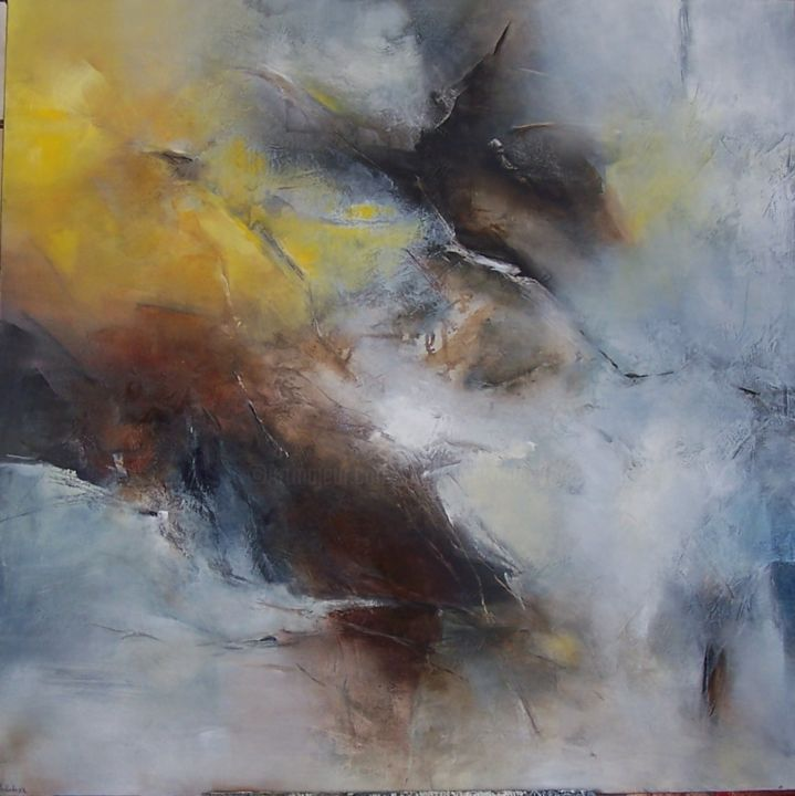 l'oeil nomade I - Painting,  100x100 cm ©2015 by Françoise Vandiedonck -                                                            Abstract Art, Canvas, Abstract Art, .