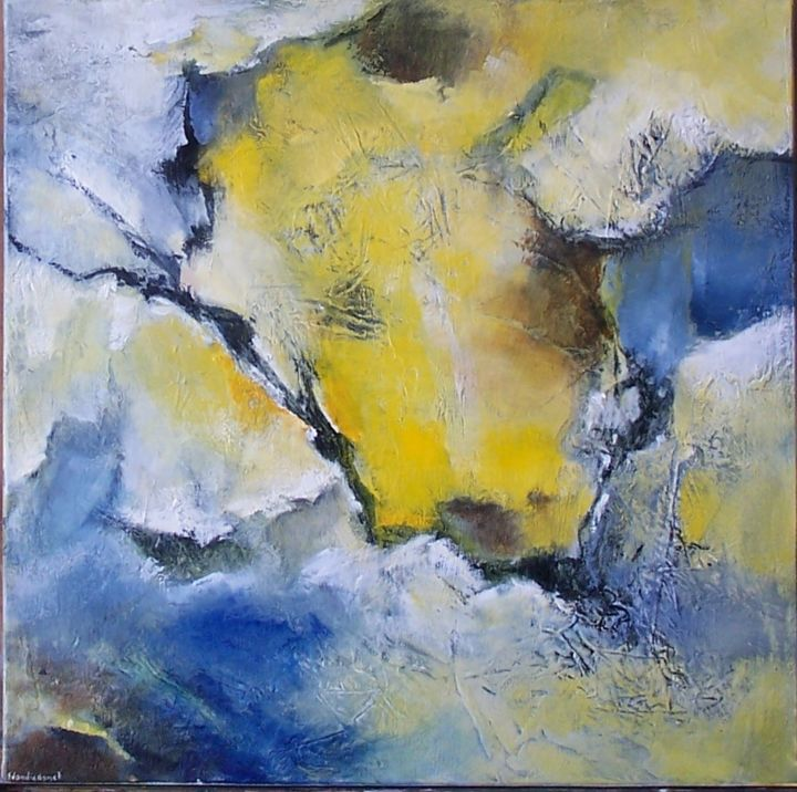 Pavé-II - Painting,  50x50 cm ©2015 by Françoise Vandiedonck -                                        Abstract Art, Canvas