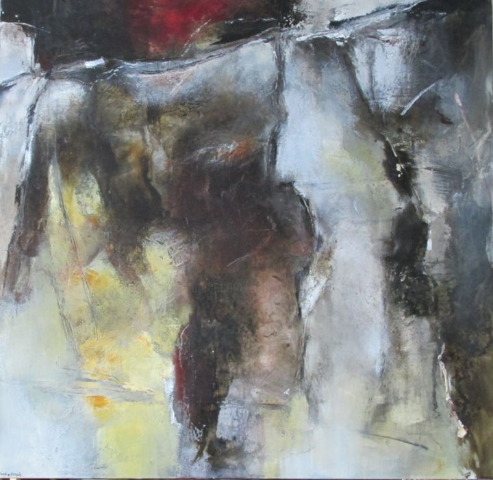 L'ermitage - Painting,  35.4x35.4 in, ©2015 by Françoise Vandiedonck -                                                                                                                                                                          Abstract, abstract-570, Abstract Art