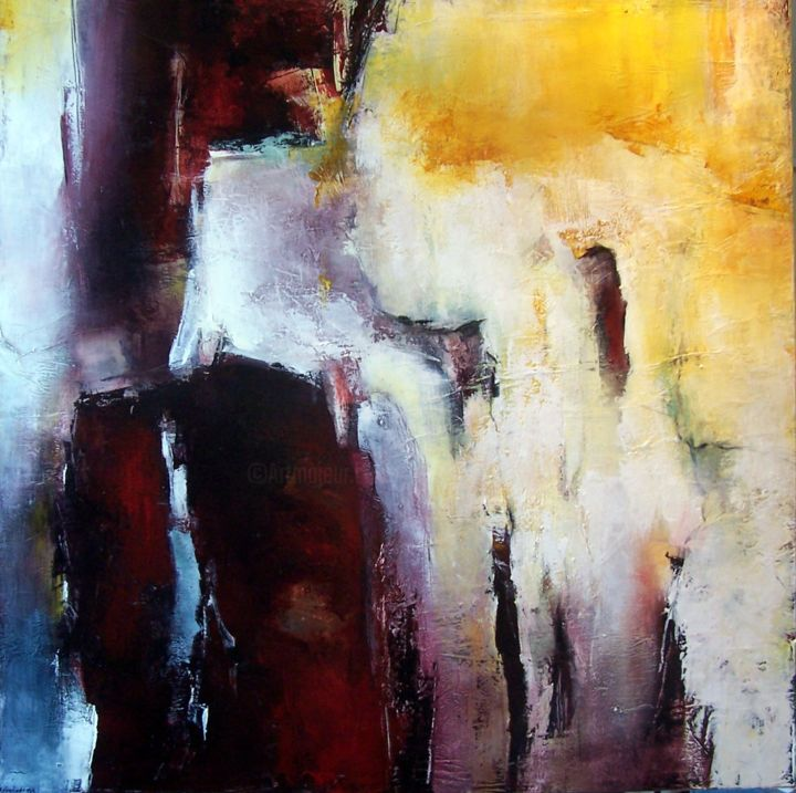 Te souviens tu de Fez. - Painting,  100x100 cm ©2016 by Françoise Vandiedonck -                                                        Abstract Art, Canvas, Abstract Art