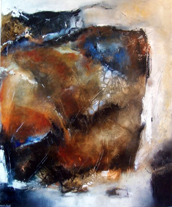 l'effilage du temps. - Painting,  100x81 cm ©2016 by Françoise Vandiedonck -                                                        Abstract Art, Canvas, Abstract Art