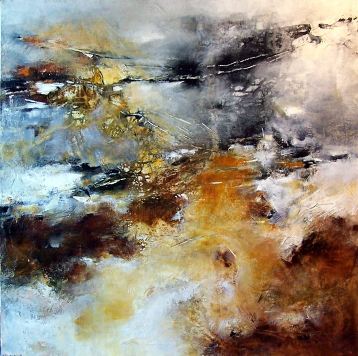 la caresse des ombres heureuses. - Painting,  80x80 cm ©2016 by Françoise Vandiedonck -                                                        Abstract Art, Canvas, Abstract Art