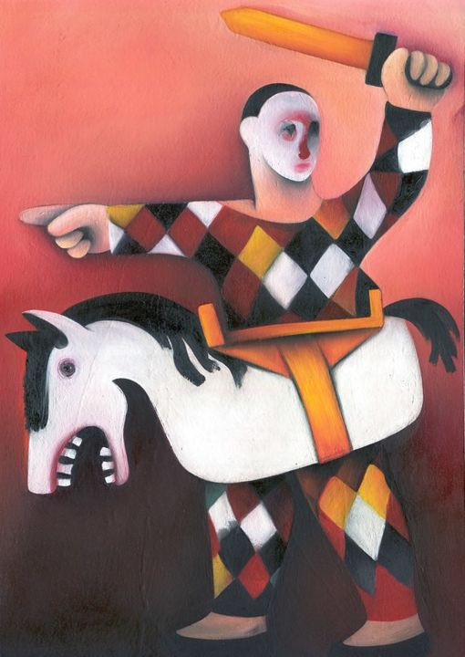 Clown HARLEQUIN SOLDIER Surreal Art Naive - Painting,  15.8x11 in, ©2012 by Fran -                                                                                                                                                                                                                                                                                                                                                                                                                                                                                                                                                                                                                                                                                                                                                                          Figurative, figurative-594, Heroic-Fantasy, Fantasy, Humor, harlequin, soldier, clown, sword, horse, harlequin soldier, surreal, clown soldier, surrealist, artwork, wall art