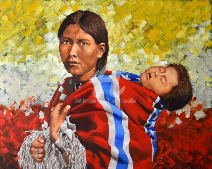 La longue marche - Painting,  80x100x2.2 cm ©2017 by Frank CHEVALLIER -                                            Figurative Art, World Culture, navajo, amerique, reve, marche, amercian dream, american flag, drapeau américain, sessecioniste, deportation, squaw