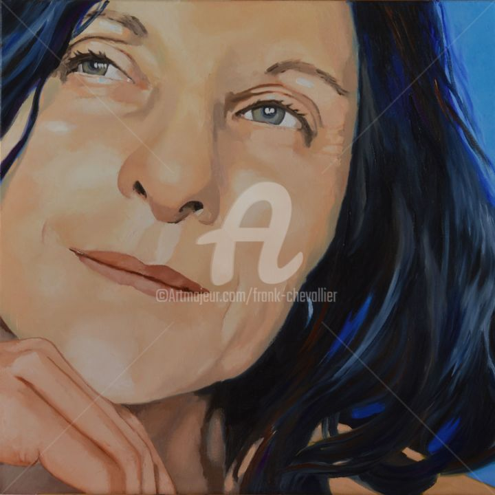 Nadia, portrait de profil - Painting,  23.6x23.6x0.9 in, ©2017 by Frank CHEVALLIER -                                                                                                                                                          Family, portrait commande, portrait