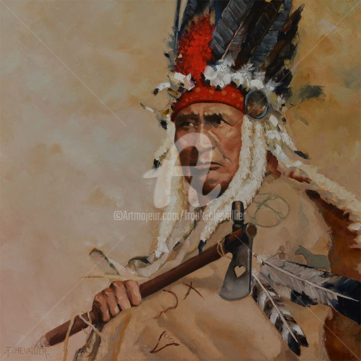 Porter l'Histoire - Painting,  31.5x31.5x0.9 in, ©2017 by Frank Chevallier -                                                                                                                                                                                                                                                                                                                                                                                      History, curly bear, curley bear, blackfoot, blackfeet, amérindien, native, chef indien