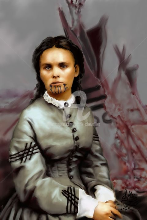 Olive Oatman - Digital Arts,  45.3x29.5x0.8 in, ©201 by Frank Chevallier -                                                                                                                                                                                                                                                                                                                                                                                                                                                                              Portraits, Olive, Oatman, Olive Oatman, prisonnière, tatouage, femme, indien, chevallier, portrait