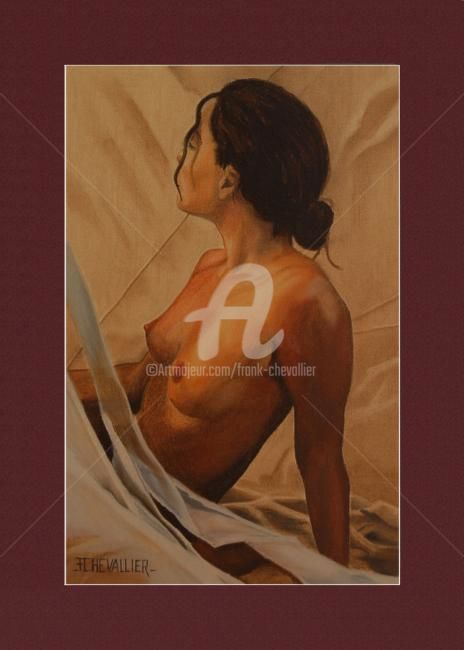 Le reveil - Painting,  22.1x14.2 in, ©2008 by Frank Chevallier -