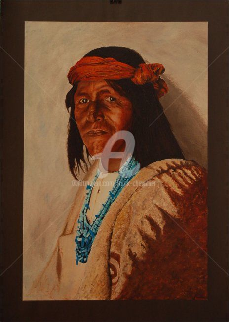 Fiscal de jemez - Painting,  22.8x15 in, ©2008 by Frank Chevallier -