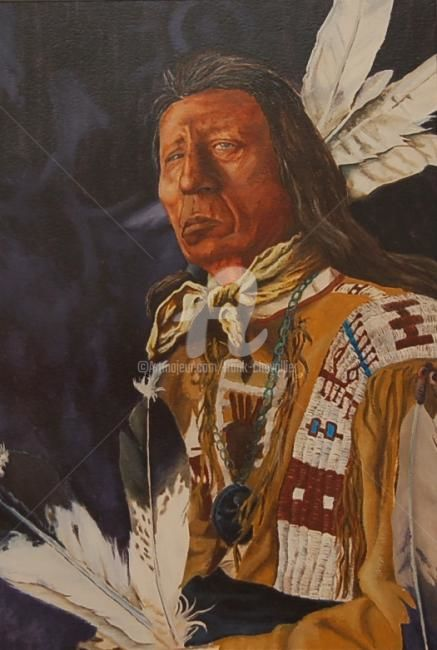 Chef red cloud - Painting,  56x36 cm ©2008 by Frank CHEVALLIER -