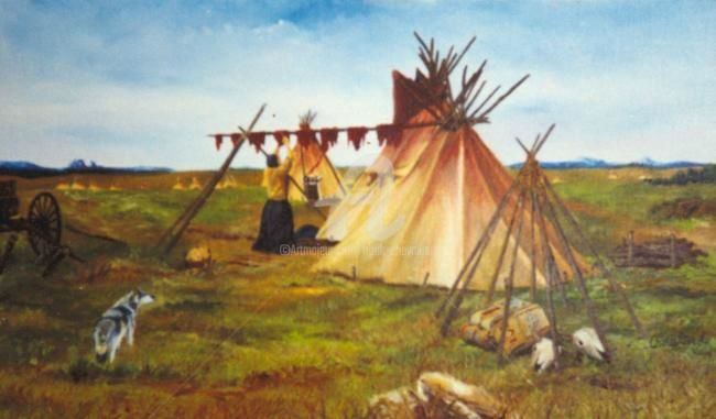 Pemmican - Painting,  13x21.7 in, ©2008 by Frank Chevallier -