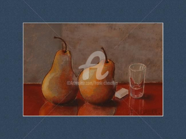 2 poires et 1 canard - Painting,  7.9x11.8 in, ©2009 by Frank Chevallier -