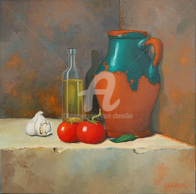 La cruche aux 2 tomates - Painting,  60x60 cm ©2011 by Frank CHEVALLIER -            Nature morte