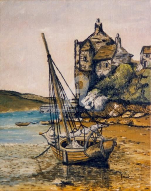 Côte normande - Painting,  13.8x10.6 in, ©1982 by Frank Chevallier -