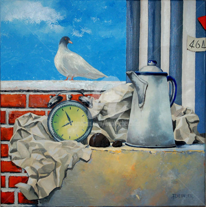 Arbeit macht frei - Painting,  23.6x0.8x23.6 in, ©2014 by Frank Chevallier -                                                                                                                                                                          Figurative, figurative-594, Arbeit macht Frei