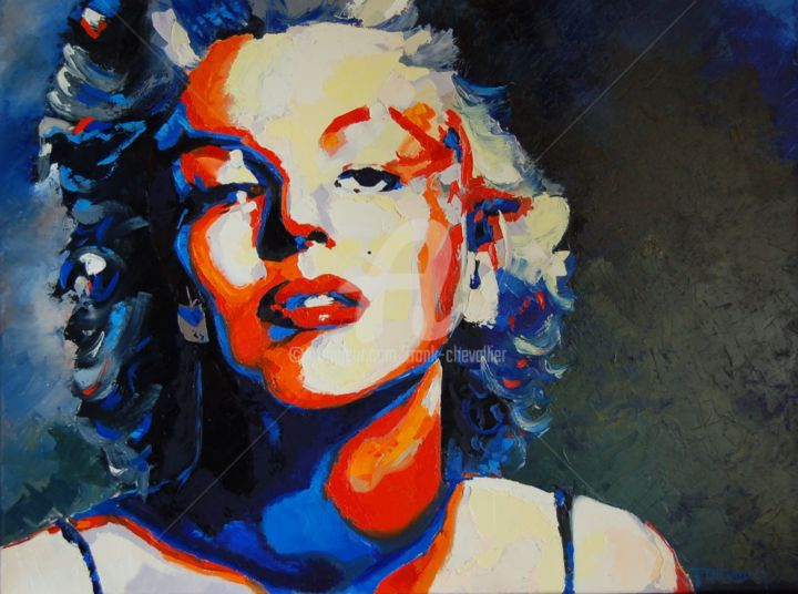 Marylin - Painting,  2.2x60x80 cm ©2014 by Frank CHEVALLIER -                                            Canvas, Celebrity, Marylin, Monroe, portrait, celebrité