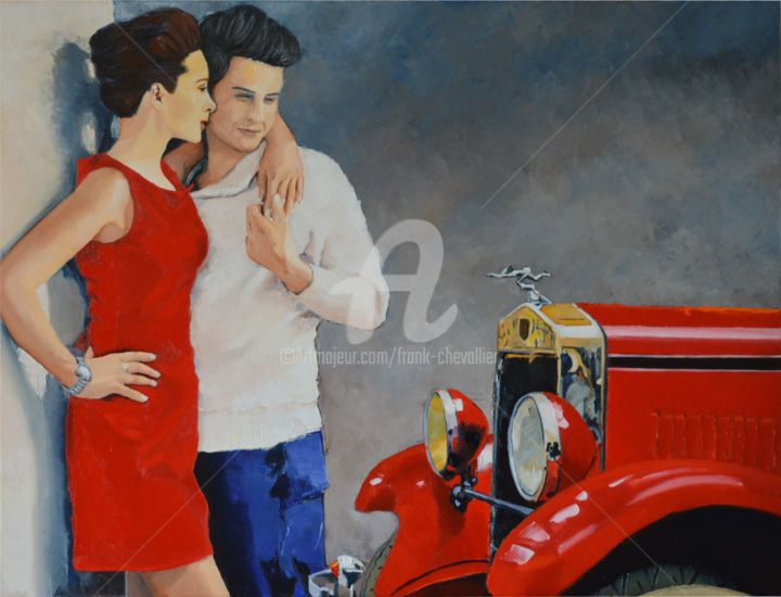 convoitise - Painting,  23.6x31.5x0.9 in, ©2017 by Frank CHEVALLIER -                                                                                                                                                                                                                                                                                                                                                                                                                                                      Figurative, figurative-594, Love / Romance, Amour, romance, Rolls, Royce, rouge, couple