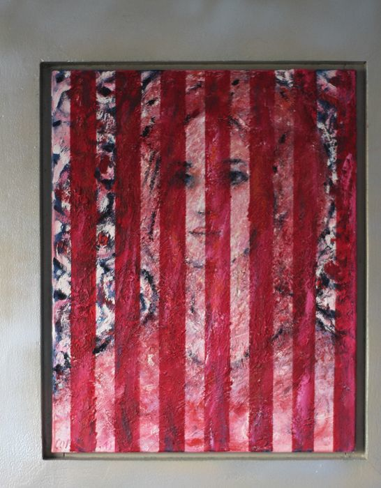 """Painting titled """"Behind red bars"""" by Frank Eijgenrook, Original Art, Oil"""