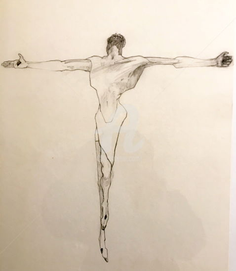 """Drawing titled """"Christ"""" by Frank Illo, Original Art, Pencil Mounted on Wood Panel"""