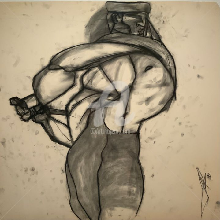"""Drawing titled """"John Henry"""" by Frank Illo, Original Art, Charcoal"""