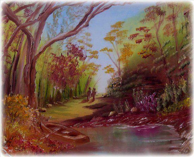 """Painting titled """"A walk in the forest"""" by Frances Verschoyle, Original Art,"""