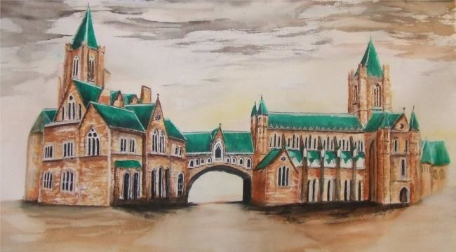 """Painting titled """"Christchurch Cathed…"""" by Frances Verschoyle, Original Art,"""