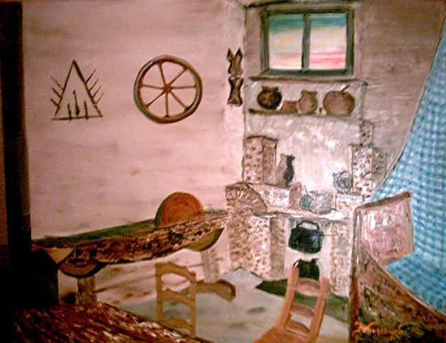 """Painting titled """"The Kitchen in Fati…"""" by Frances Verschoyle, Original Art,"""