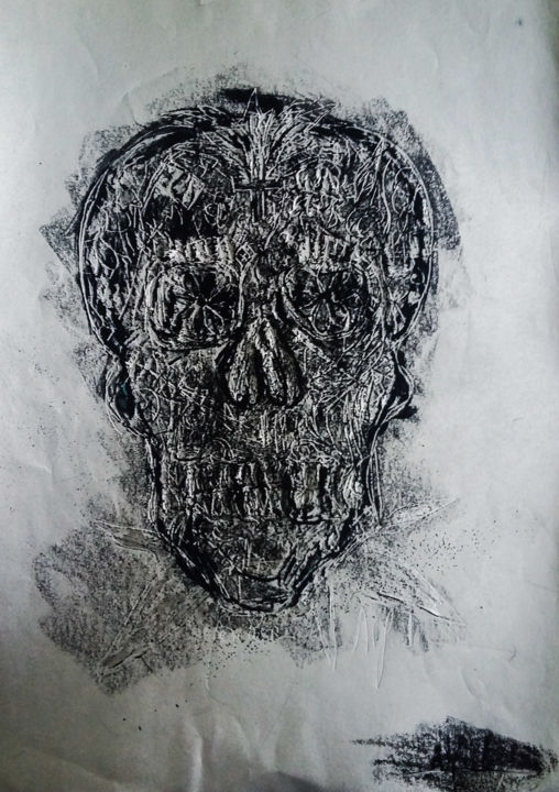 mexican skull - Drawing,  29.7x21x7 in ©2015 by Alfredo -                                                            Abstract Art, Paper, Body, mexican skull, crane, bones, human