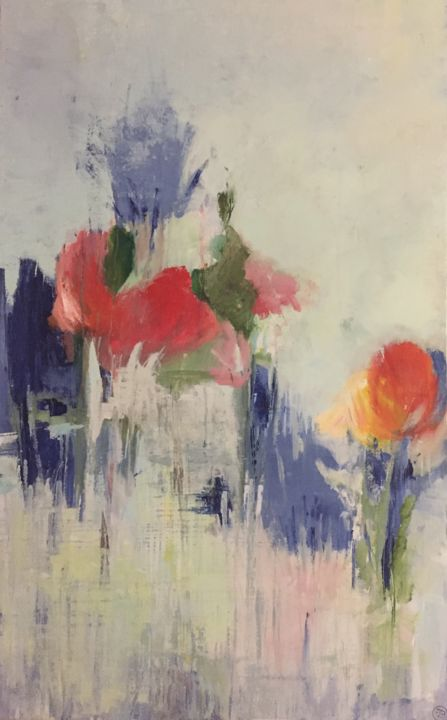bouquet nature - Painting,  51.2x31.5x1 in, ©2018 by Fred Bertin -                                                                                                                                                                                                                                                                                                                                                                                                                                                                                                  Expressionism, expressionism-591, Flower, Nature, couleur, printemps, lumineux, nature, fleurs, gaie
