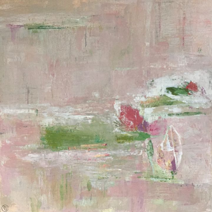 le lac rose - Painting,  31.5x31.5x1 in, ©2018 by Fred Bertin -                                                                                                                                                                                                                                                                                                                                                                                                          Expressionism, expressionism-591, Nature, nature, floral, lac, rose, espace
