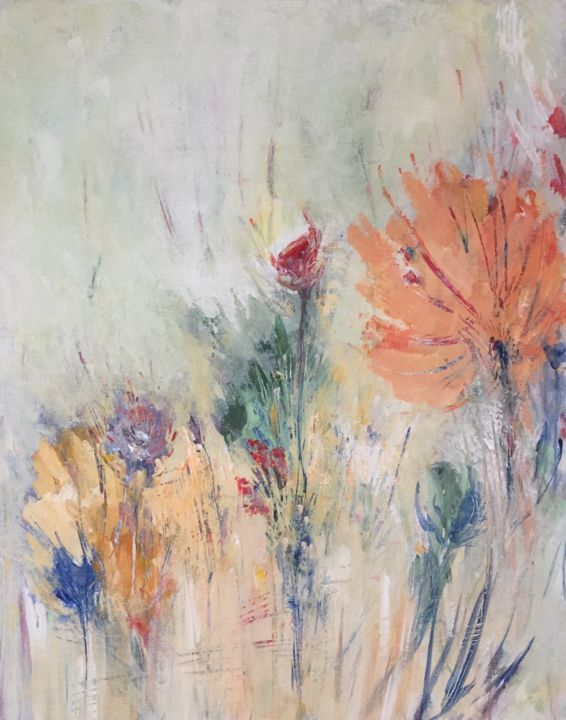 Oeuillet - Painting,  36.2x28.7x1 in, ©2018 by Fred Bertin -                                                                                                                                                                                                                                                                                                                                                                                                          Expressionism, expressionism-591, Nature, art floral, nature, rosée, floral, jardin