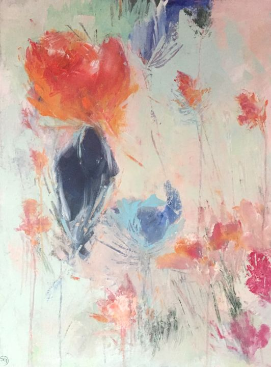 le lys 2 - Painting,  31.5x23.6x0.8 in, ©2018 by Fred Bertin -                                                                                                                                                                                                                                                                                                                                                                                                                                                                                                  Expressionism, expressionism-591, Garden, jardin, fleur, art floral, nature, frais, lumiere, couleur