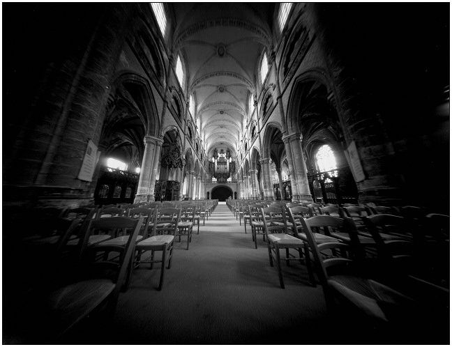 nef - Photography,  10.2x13.4 in, ©2006 by Frédéric Duchesnay -                                                                                                          stenopé eglise nef pierre, Black and White