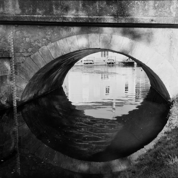 Cubjac - Photography,  19.7x19.7 in, ©2008 by Frédéric Duchesnay -                                                                                                                                                                                                                                                                      Land Art, land-art-957, Architecture, perigord dordogne pont arche, Black and White