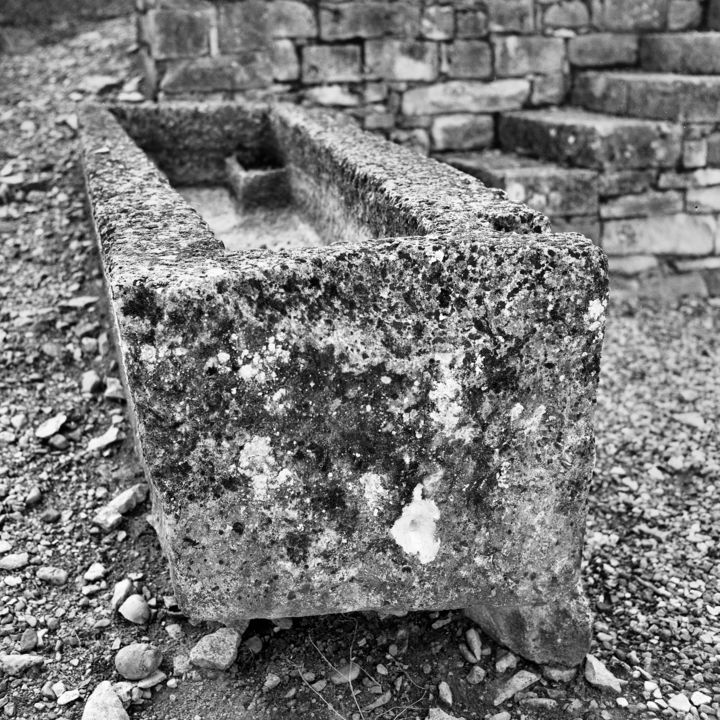 sarcophage - Photography,  9.5x9.5 in, ©2008 by Frédéric Duchesnay -                                                                                                          perigord dordogne, Black and White
