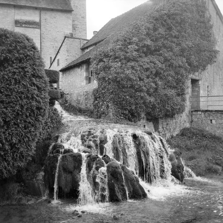Cascade - Photography,  9.5x9.5 in, ©2010 by Frédéric Duchesnay -                                                                                                          cascade village dordogne le condat, Black and White
