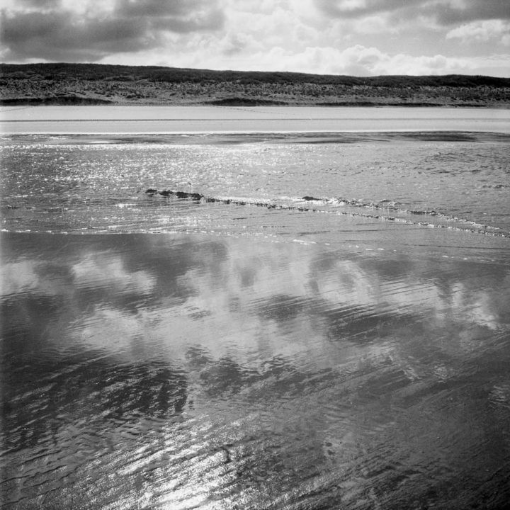 Landes - Photography,  9.5x9.5 in, ©2011 by Frédéric Duchesnay -                                                                                                          plage des landes, Black and White