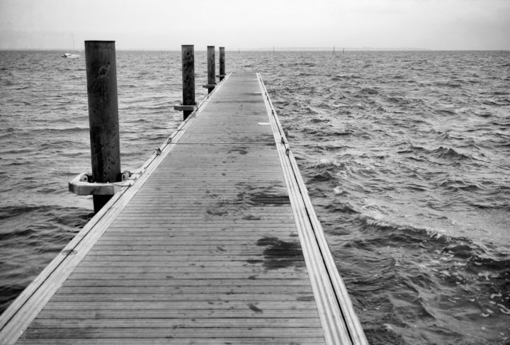 Le ponton - Photography,  9.5x13.4 in, ©2011 by Frédéric Duchesnay -                                                                                                          jetée, Black and White