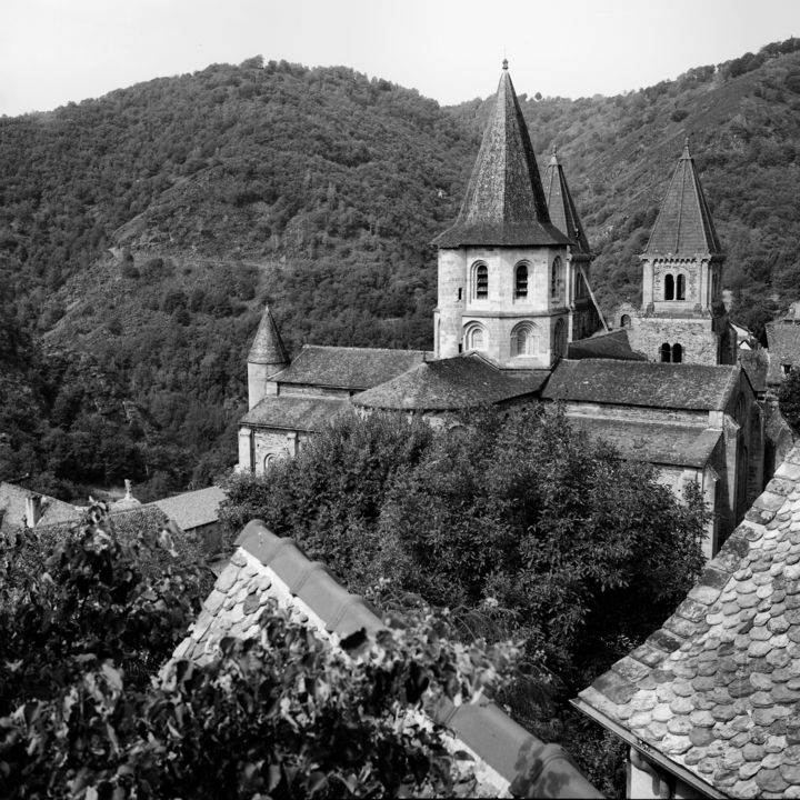 Conques - Photography,  15.8x11.8 in, ©2011 by Frédéric Duchesnay -                                                                                                          Eglise de Conques, Black and White