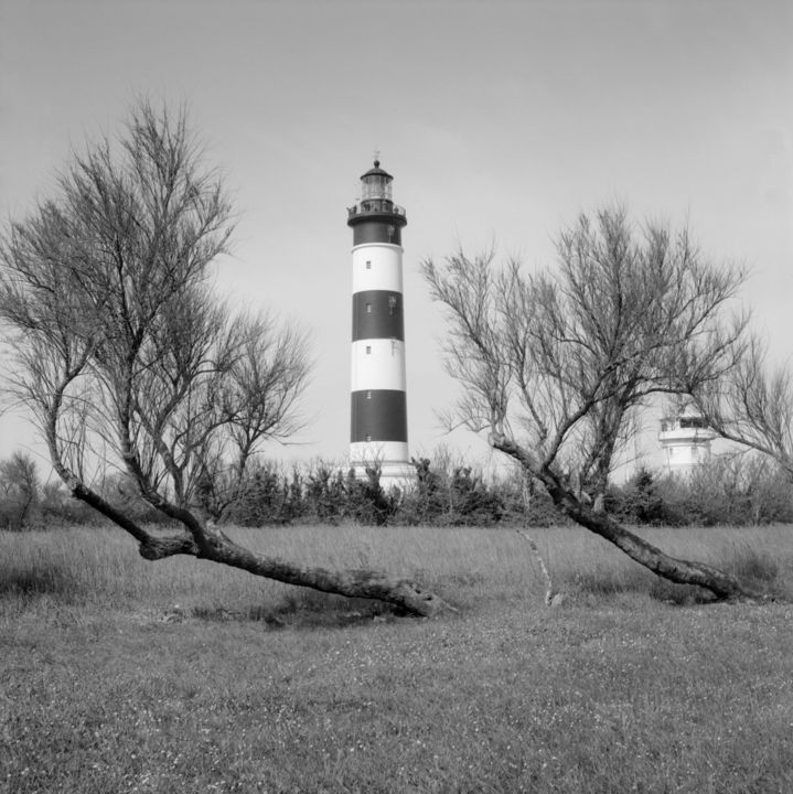 Chassiron le phare - Photography,  19.7x19.7 in, ©2017 by Frédéric Duchesnay -                                                                                                              Places, Black and White