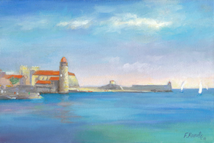 Collioure en été - Painting,  20x30x0.3 cm ©2014 by Frederic Reverte -                                                        Realism, Canvas, Landscape