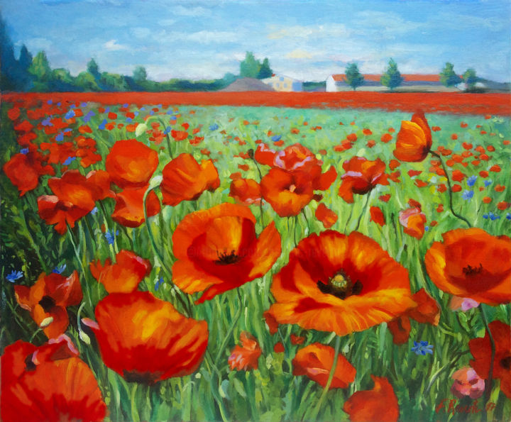 Coquelicots - Painting,  38x46x2 cm ©2017 by Frederic Reverte -                                                                                                                                    Realism, Canvas, Architecture, Botanic, Flower, Garden, Rural life, Places, Landscape, Coquelicots, Paysage, Ciel, Bâtiment, Landscape, Flowers, Poppies, Poppy, Champ, meadow, field, Ferme, Farm