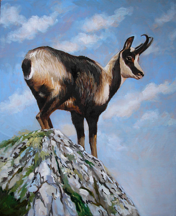 Isard - Painting,  18.1x15x1.2 in, ©2007 by Frederic Reverte -                                                                                                                                                                                                                      Figurative, figurative-594, Animals, Mountainscape