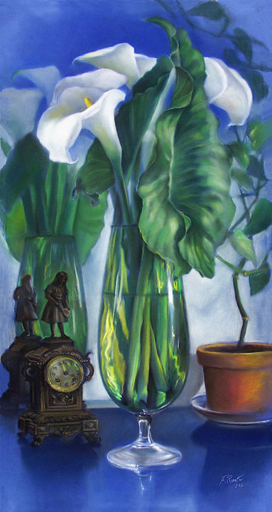 Arums et Miroir - Drawing,  100x53 cm ©2012 by Frederic Reverte -                                                                                            Figurative Art, Classicism, Realism, Paper, Flower, Still life