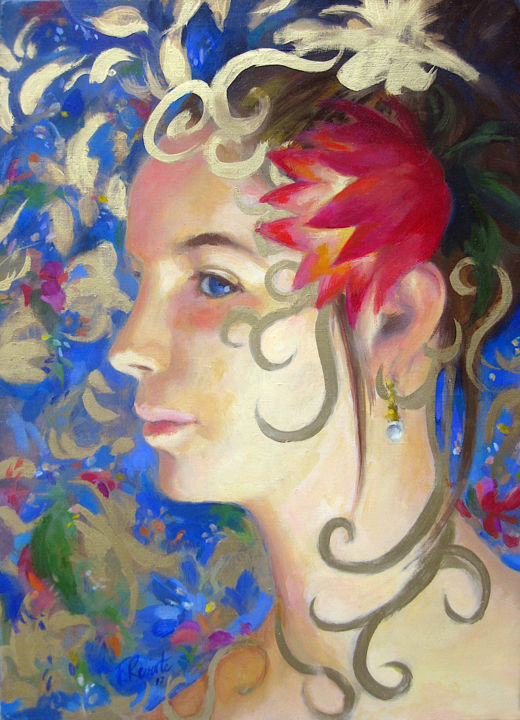 Nina - Painting,  18.1x15x1.2 in, ©2010 by Frederic Reverte -                                                                                                                                                                          Figurative, figurative-594, Portraits