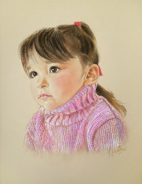 Portrait de Rose - Drawing,  25.6x19.7 in, ©2005 by Frederic Reverte -                                                                                                                                                                          Figurative, figurative-594, Portraits