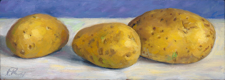 Trois Pommes de Terre - Painting,  8x20x1 cm ©2011 by Frederic Reverte -                                                                    Realism, Wood, Still life, Food & Drink
