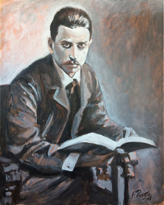 Rainer Maria Rilke - Painting,  41x33x0.5 cm ©2018 by Frederic Reverte -                                                                    Realism, Pulpboard, Canvas, Portraits